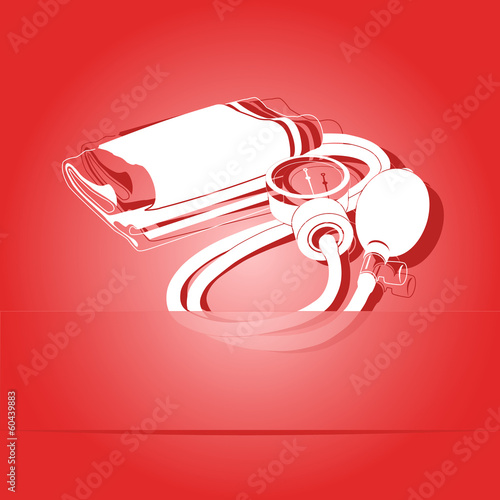 Blood pressure. Paper sticker. Vector illustration.