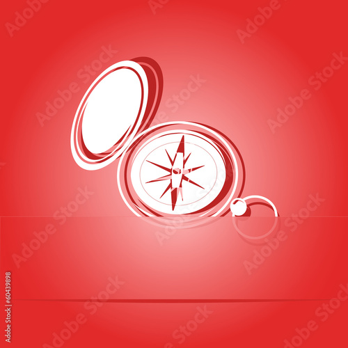 Compass. Paper sticker. Vector illustration.