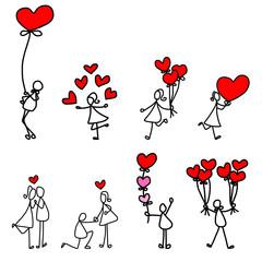 cartoon hand-drawn love