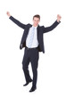 Happy Young Excited Businessman Raising Hands