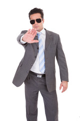 Young Businessman Gesturing Stop Sign