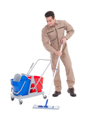 Male Sweeper Cleaning Floor