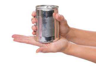 Female hands holding a tin can