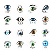 Eye Icons Set - Isolated On White Background
