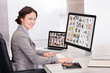 Businesswoman Browsing Pictures