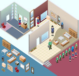 isometric of interior room. custom interior isometric series