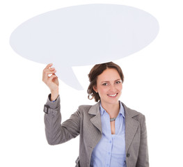 Businesswoman Holding Speech Bubble