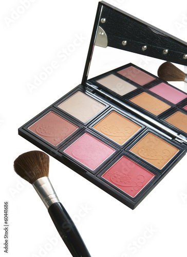 cosmetic, eye shadow case and brushes