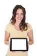 Smiling Woman Holding Digital Tablet