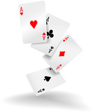 Playing cards four aces poker hand