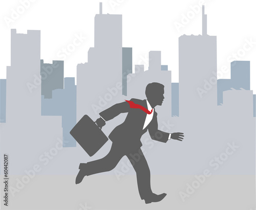 Busy business person hurry city rush