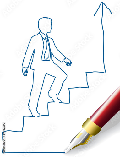 Business person climb up success steps