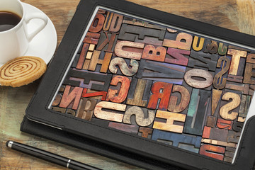 typography concept on digital tablet