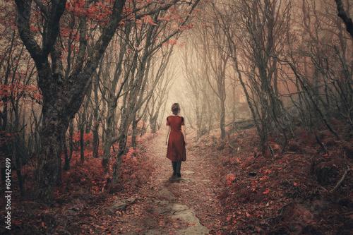 Leinwanddruck Bild Woman and foggy forest.
