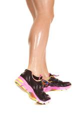 Woman wet legs walk side