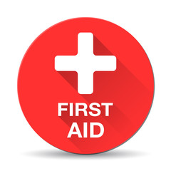 First aid medical button sign in flat style with long shadows.