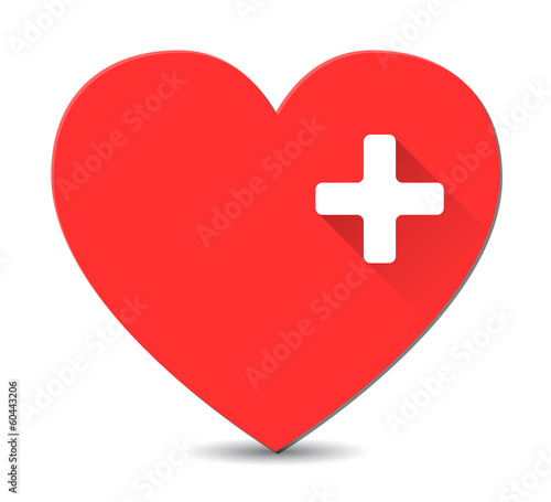 First aid medical sign on red heart shape in flat style with lon