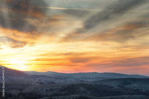 Mountains with colorful sky
