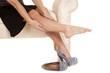Woman leg out rub one shoe off