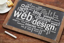 """Постер, картина, фотообои """"web design word cloud on blackboard"""""""