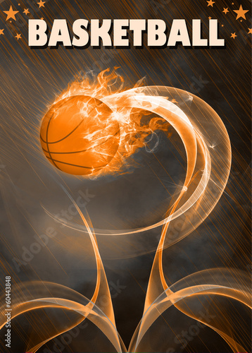 Baketball fire ball background
