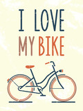 I love my bike. Vector illustration.
