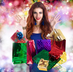 Beautiful happy girl rejoices gifts for Valentine's Day.Holiday