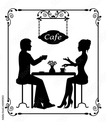 silhouettes of a loving couple in a cafe and vintage frame