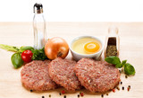 Raw minced pork chops meat on white background
