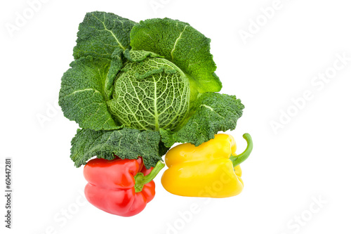 Green Savoy cabbage with red and yellow pepper.
