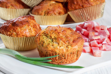 Muffins with cheese, bacon and herbs
