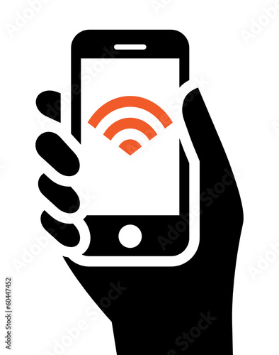 Mobile phone in hand with Wi-Fi sign