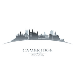 Cambridge England city skyline silhouette white background