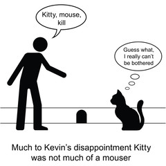 Kevin found Kitty was not much of a mouser