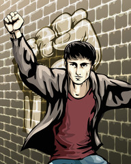Protesting boy