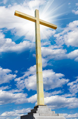 Christian cross on sky. Religion and faith concept.