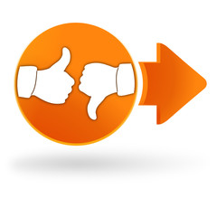 satisfait, pas satisfait sur symbole web orange