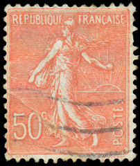 FRANCE - CIRCA 1926: A stamp printed in France, depicts a sower,