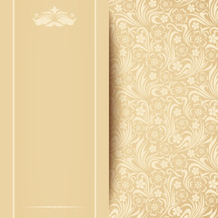 Vector beige card with floral pattern.