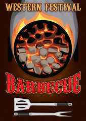 retro poster with hot coals for barbecue