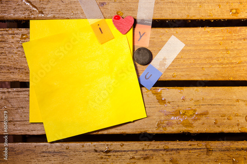 yellow blank paper with i love you alphabet