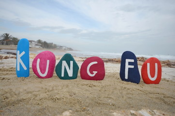 Kung Fu concept on colourful stones on the beach