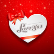 Happy Valentine Day Greeting Card and red ribbon