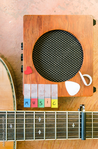 Music alphabet with acoustic guitar and amplifier closeup