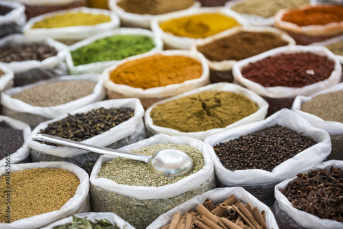 Spices in white sacks