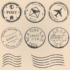 vector set of postal stamps on brown background