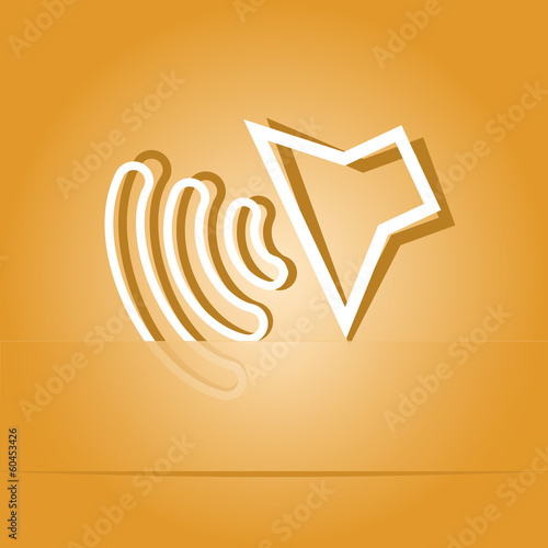 Loudspeaker. Paper sticker as bookmark. Vector illustration.