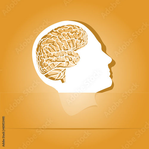 Human brain. Paper sticker as bookmark. Vector illustration.