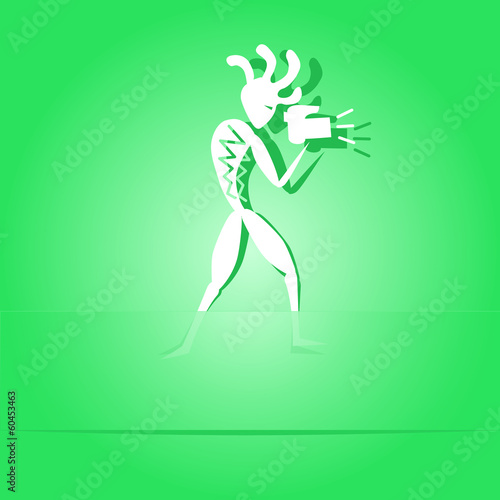 Ethnic little man with camera. Paper sticker as bookmark. Vector