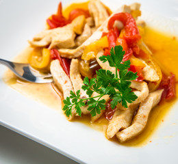 Chicken with peppers and curry